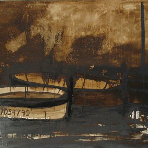 Sans titre, goudron sur toile, 135 x 190 cm, 2005