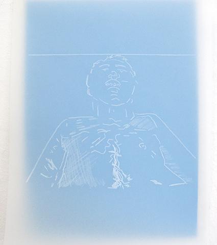 Sans titre, 2012 papier calque (21 x 29,7 cm), papier canson bleu (24 x 32 cm), crayon gras blanc