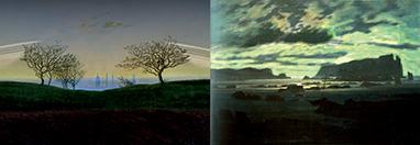 à gauche: Collines et Champs Près de Dresde à droite: La Mer du Nord au Clair d'Anneaux d'après Caspar David Friedriech, 127 x 86 cm pour chaque Simulation Celestia et montage dans Gimp