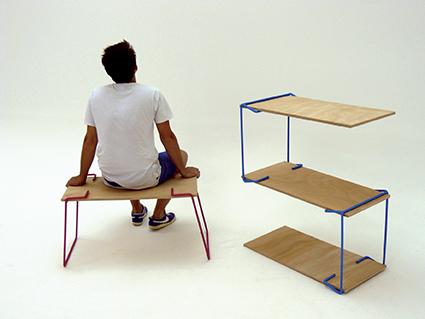 Systèmes D - structures de mobiliers, 2012 Systèmes auto-bloquants, porte-à-faux, mise en tension et contrepoids / acier, contreplaqué