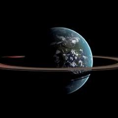 La Terre Cerclée de ses Anneaux, 137 x 91 cm, 2011 Modélisation Blender, travail dans Gimp