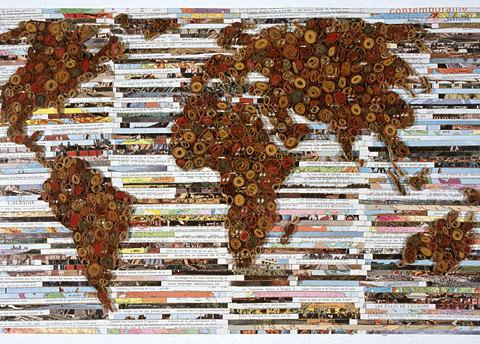 Lattitude, 2007, Papier imprimé, liant acrylique sur bois, 51 x 30 cm, Photographie Patrick Box