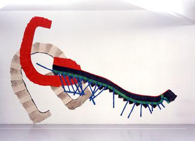 Au Cannet : palier, escalier, rampe 1993-1994 Fragments de tissu, colle et pigment, 340 x 600 cm Photographie Muriel Anssens