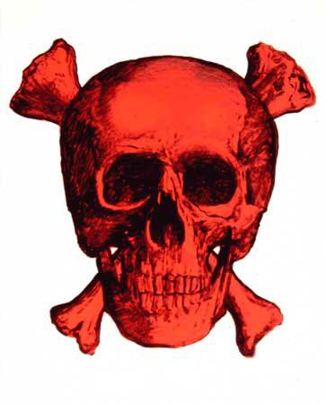 Crâne rouge, 2003 Peinture fluorescente sur toile, 34x27 cm Photographie Frédéric Clavère