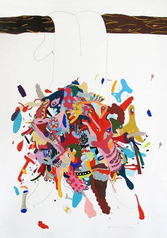 Géographie humaine - 2010 110/75 cm - gouache sur papier
