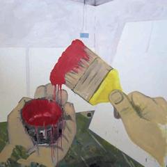 Sans titre, acrylique et huile sur toile, 150 x 150 cm, 2007