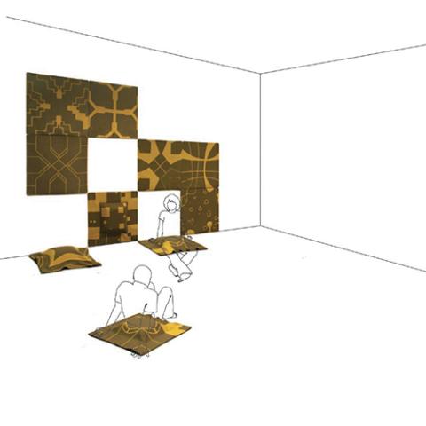 Sédent'air / 2008 / laine tricotée et structure gonflable / 12 tapis de 75 x 75 cm / réalisé avec l'aide de la société Bettina et de Stéphane Laliève