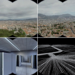 """Interface cubique / 2007 / installation interactive (mousse polyuréthane 25 cm x 25 cm, caméra vidéo, PC, logiciel de """"tracking"""")"""