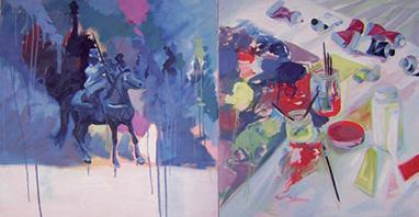 Le dyptique social / 2008 / huile sur toile / 100 x 193 cm