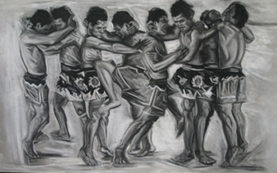 Fight Scene No. 6 - 2011 Pastel sur papier - 150 x 110 cm courtesy Teo+Namfah Gallery