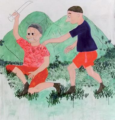 Sans titre, 2011 Acrylique sur papier, 150 x 150 cm