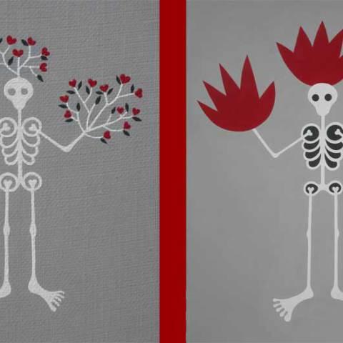Fleufleur et Feufeu, 2006 acrylique sur toile, 53 x 65 cm chaque
